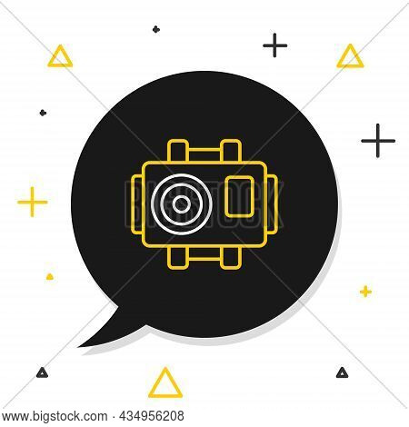 Line Photo Camera For Diver Icon Isolated On White Background. Foto Camera Icon. Diving Underwater E
