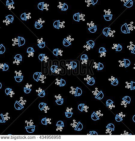 Line Jellyfish Icon Isolated Seamless Pattern On Black Background. Vector