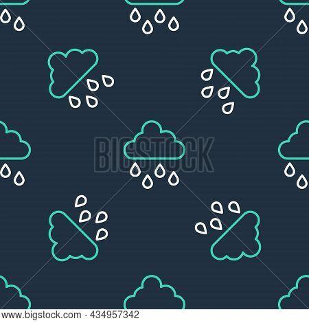 Line Cloud With Rain Icon Isolated Seamless Pattern On Black Background. Rain Cloud Precipitation Wi