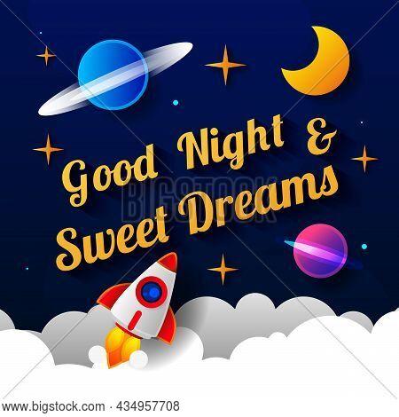 Vector Illustration Of Wish Good Night On Dark Purple Sky Background With Moon. Art Design For Web,