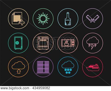 Set Line Ship, Storm, Paint Brush, Oven, Safe, Add New File, Microwave Oven And Sun Icon. Vector