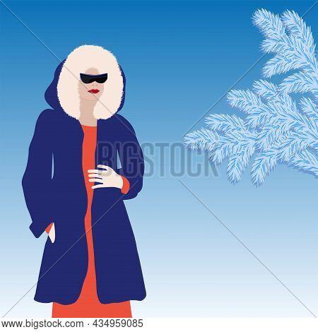 Winter Landscape. Elegant Woman In Coat With Faux Fur Hood - Art, Vector. Headdress. Sale. Winter Cl