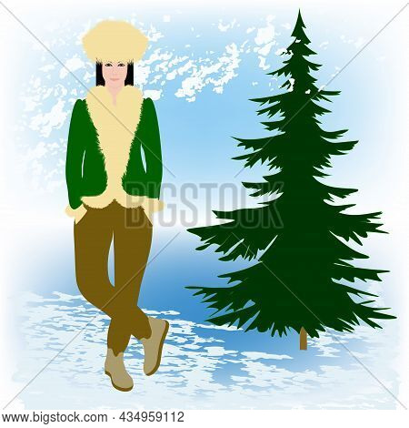 Winter Landscape. Woman In Jacket And Hat Trimmed With Yellow Faux Fur - Art, Vector. Headdress. Sal