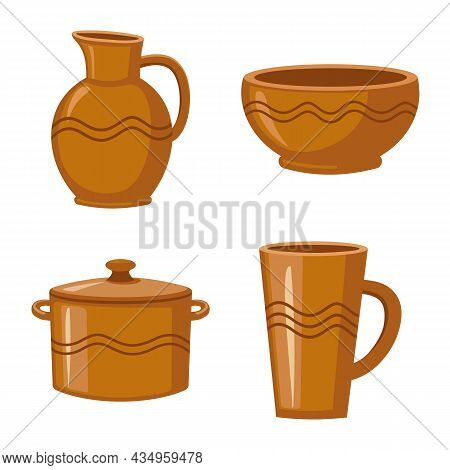 Vector Illustration Of Kitchen And Tableware Sign. Set Of Kitchen And Pottery Vector Icon For Stock.