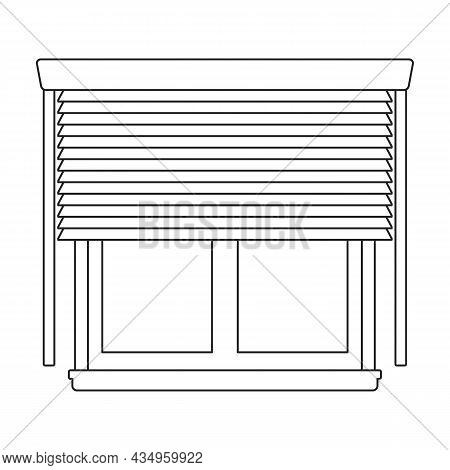 Window Blind Vector Outline Icon. Vector Illustration Jalousie On White Background. Isolated Outline