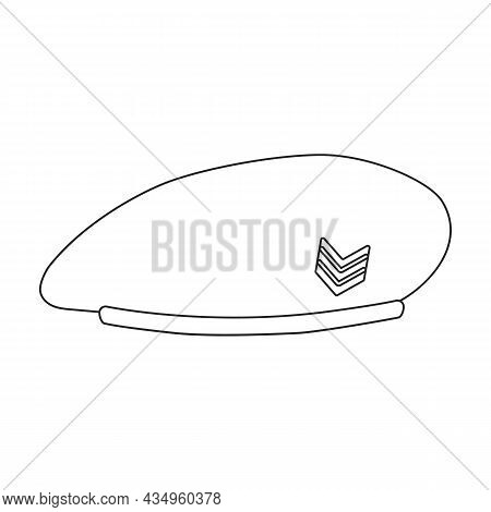 Beret Of Military Vector Outline Icon. Vector Illustration Beret Of Military On White Background. Is
