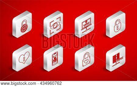 Set Line Server Vpn, Eye Scan, Computer Network, Lock, Padlock With Heart, Safe Combination Wheel, M