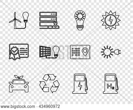 Set Line Eco Car Concept Drive, Hydrogen Filling Station, Solar Energy Panel, Recycle Symbol, Light