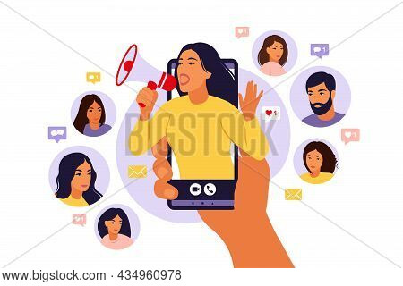 Hands Holding Smartphone With A Girl Shouting In Loud Speaker. Influencer Marketing, Social Media Or