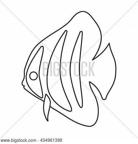 Tropical Fish Vector Outline Icon. Vector Illustration Exotic Aunafish On White Background. Isolated