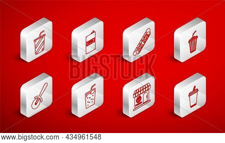 Set Line Glass With Water, Beer Can, Hotdog Sandwich, Pizzeria Building Facade, And Pizza Knife Icon