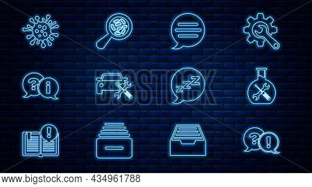 Set Line Question And Exclamation, Bioengineering Service, Speech Bubble Chat, Car, Bacteria, With S