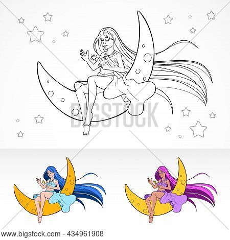 Cartoon Anime Vector Color Book Page With Coloring Variations With Young Pretty Girl Sitting On Moon