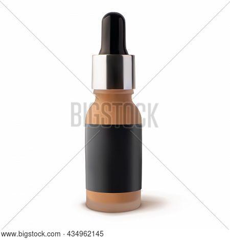 Mockup Liquid Tonal Foundation Makeup Cream In Glass Jar With Dropper Mockup 3d Vector Realistic Ill