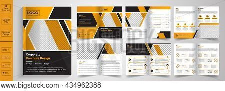 Minimal & Clean Geometric Design Of 8 Page Yellow Color Template For Brochure, Flyer, Magazine, Cata