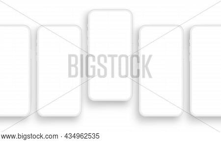 Clay Smartphones With Blank Screens, Isolated On White Background. Vector Illustration