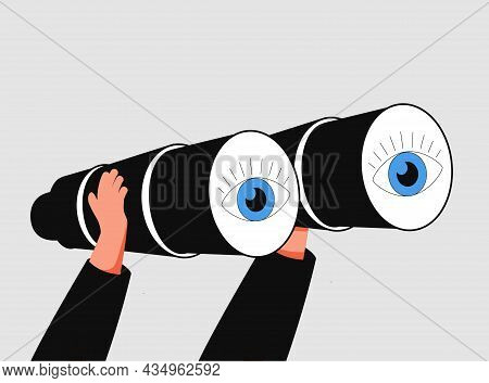 Vision To See Opportunity, Success Opportunity Or Visionary. Hand Is Holds Binoculars. Vision, Resea
