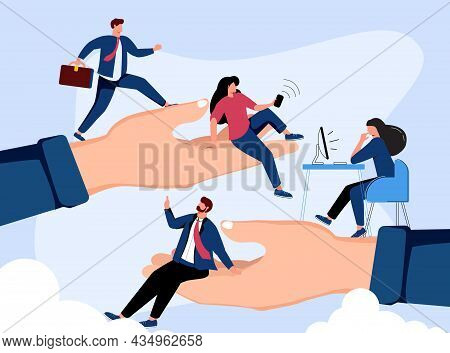 Employees Care Concept. Giant Human Hands Holding And Supporting Tiny Business Professionals. Vector