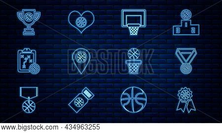 Set Line Basketball Award, Medal, Backboard, Location With Basketball, Planning Strategy, Award Cup,