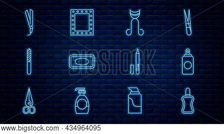 Set Line Nail Polish Bottle, Spray Can, Eyelash Curler, Bar Of Soap, File, Curling Iron, Eyeliner, E