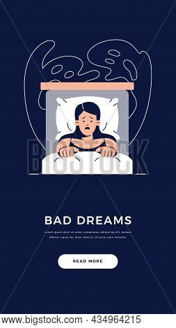 Nightmare Disorder Banner. Scared Woman Is Lying In Bed And Being Afraid Of Ghost, Waking Up From A