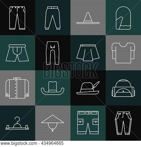 Set Line Pants, Sport Bag, Long Sleeve Shirt, Gardener Worker Hat, Men Underpants, And Skirt Icon. V