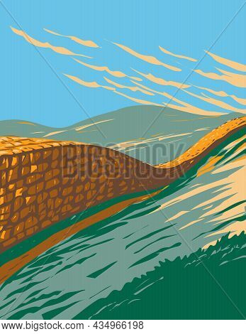 Art Deco Or Wpa Poster Of Hadrian's Wall Near Brampton In Northumberland National Park, England, Uk