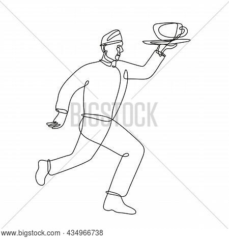 Continuous Line Drawing Illustration Of A Waiter Delivering Cup Of Coffee Running Side View Done In