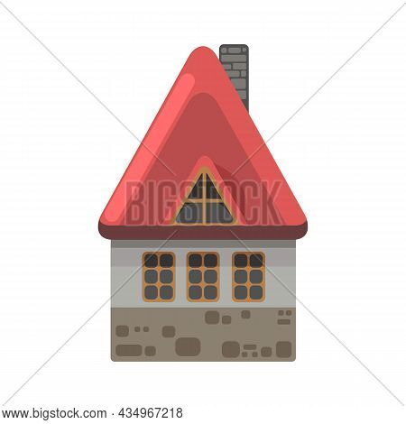 Small Country House With Orange Walls And Red Roofs. Funny Cartoon Style. Country Suburban Village.