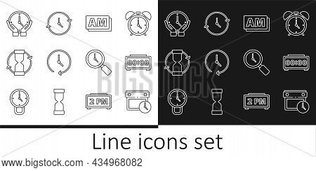 Set Line Calendar And Clock, Digital Alarm, Clock Am, Old Hourglass, Magnifying With And Icon. Vecto