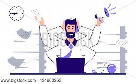 Multitasking Work Workload Efficiency Under Pressure Or Stress Management Vector Illustration Chaos