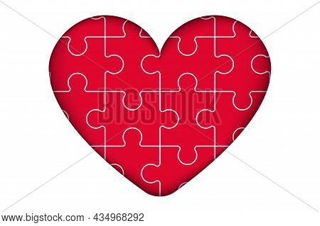 Heart Puzzle Jigsaw Puzzle With All Its Pieces Put Together Forming A Big Red Heart Of Love Love And