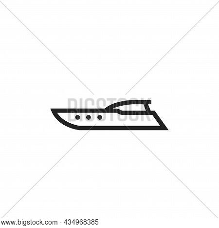 Speedboat Line Icon. Motor Boat For Sea Trip