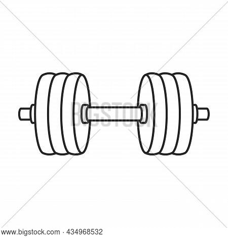 Dumbbell Vector Icon. Outline Vector Icon Isolated On White Background Dumbbell.