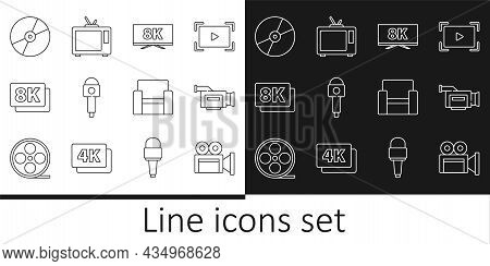 Set Line Cinema Camera, Screen Tv With 8k, Microphone, Ultra Hd, Cd Or Dvd Disk, Chair And Retro Ico