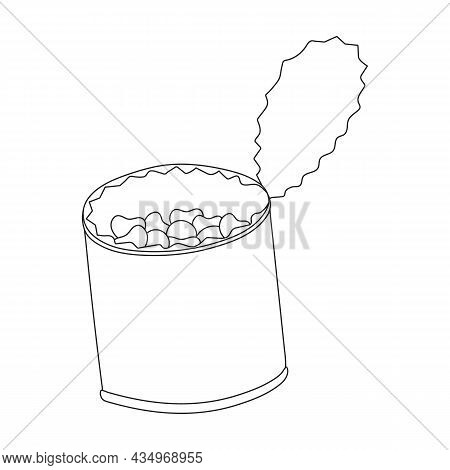 Beans Can Vector Outline Icon. Vector Illustration Can Of Bean On White Background. Isolated Outline