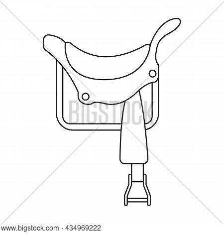 Cowboy Saddle Vector Icon.outline Vector Icon Isolated On White Background Cowboy Saddle.