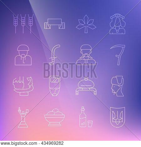 Set Line Ukrainian Trident, Cossack, Scythe, Chestnut Leaf, Medieval Sword, Wheat And Icon. Vector