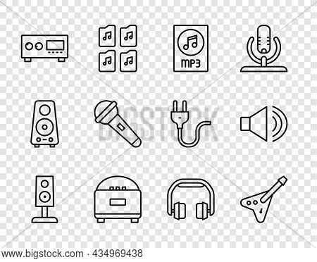 Set Line Stereo Speaker, Electric Bass Guitar, Mp3 File Document, Guitar Amplifier, Microphone, Head