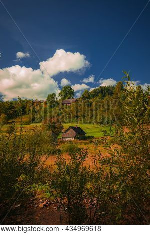 Beautiful Vertical Photography Of Rural House Village Country Side Highland Landscape Scene In Autum
