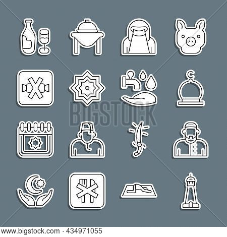 Set Line Mosque Tower Or Minaret, Muslim Man, Woman Niqab, Octagonal Star, No Sweets, Wine Bottle Wi
