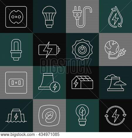 Set Line Recharging, Nuclear Power Plant, Global Energy Planet, Electric Plug, Battery, Led Light Bu