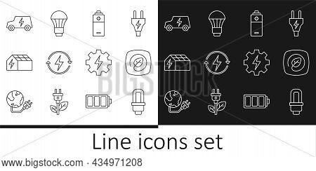 Set Line Led Light Bulb, Location With Leaf, Battery, Recharging, Solar Energy Panel, Electric Car,