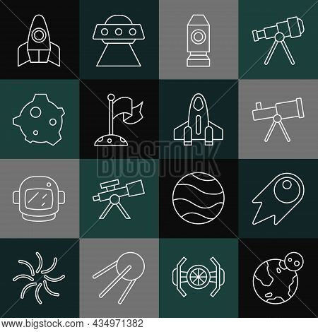 Set Line Earth Globe, Comet Falling Down Fast, Telescope, Rocket Ship, Moon With Flag, Asteroid, And
