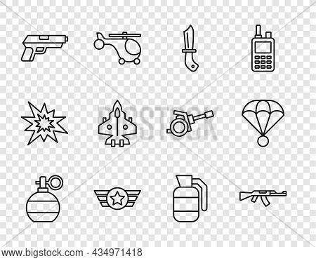 Set Line Hand Grenade, Submachine Gun, Military Knife, Star American Military, Pistol Or, Jet Fighte