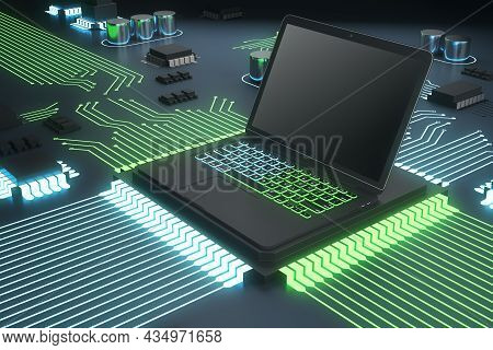 Abstract Circuit Built In Empty Laptop Computer Screen On Green Hardware Background. Technology, Sof