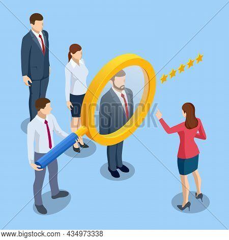 Isometric Hiring And Recruitment Concept. Hr Job Seeking. Online Job Search, Human Resource Concept.