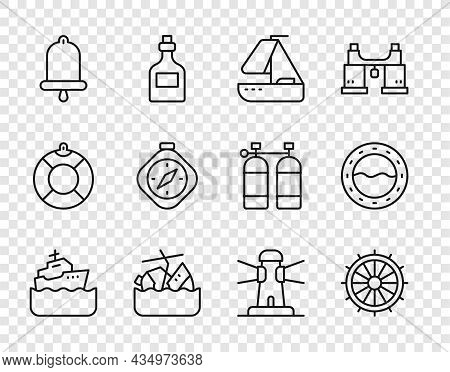Set Line Cruise Ship, Ship Steering Wheel, Yacht Sailboat, Sinking Cruise, Bell, Compass, Lighthouse