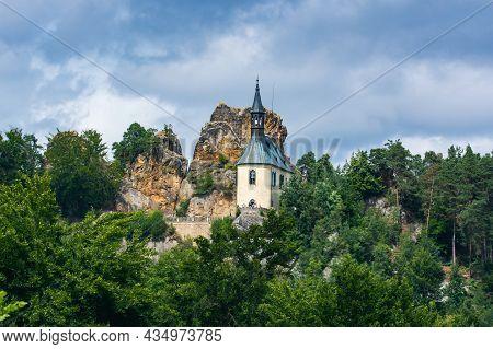 Mala Skala, Czech Republic - August 07, 2021. Mala Skala - Little Rock Castle In Summer