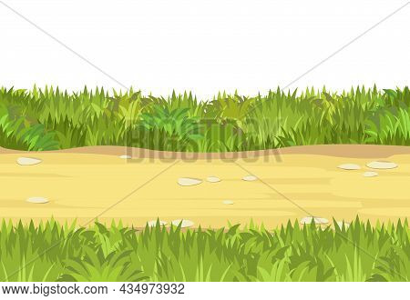 Seamless Sand Road. Horizontal Border Composition. Summer Meadow Landscape. Juicy Grass. Rural Rusti